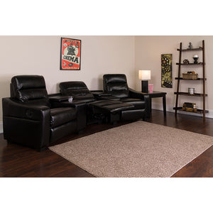 Futura Series 3-Seat Reclining LeatherSoft Theater Seating Unit with Cup Holders