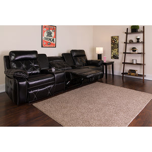 Reel Comfort Series 3-Seat Reclining Black LeatherSoft Theater Seating Unit