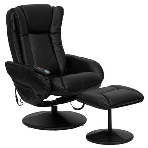 Massaging Multi-Position Plush Recliner with Side Pocket and Ottoman in Black LeatherSoft
