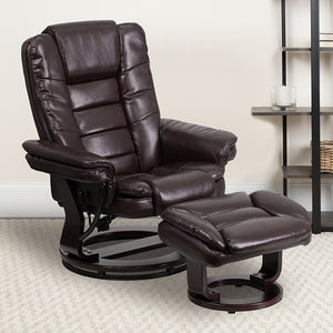 Contemporary Multi-Position Recliner with Horizontal Stitching and Ottoman with Swivel Mahogany Wood Base