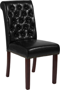 HERCULES Series Parsons Chair with Rolled Back, Accent Nail Trim and Walnut Finish