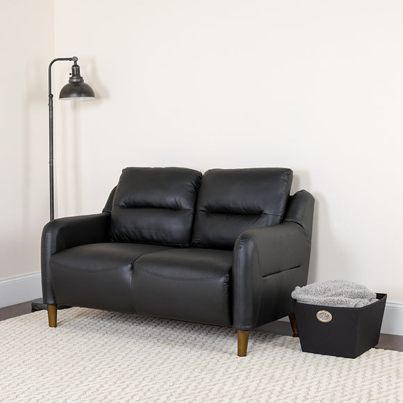 Newton Hill Upholstered Bustle LeatherSoft Back Loveseat