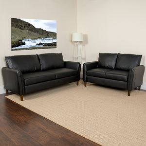 Milton Park Upholstered Plush Pillow Back LeatherSoft Loveseat and Sofa Set