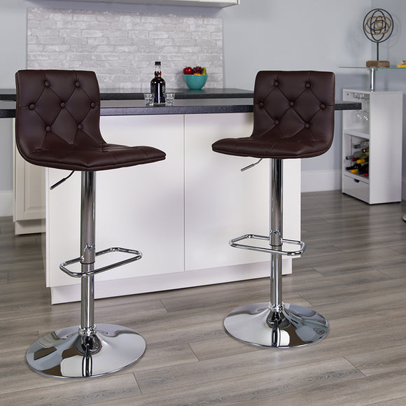 Contemporary Button Tufted Vinyl Adjustable Height Barstool with Chrome Base