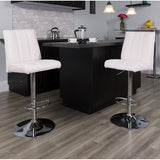 Contemporary Vinyl Adjustable Height Barstool with Vertical Stitch Panel Back and Chrome Base