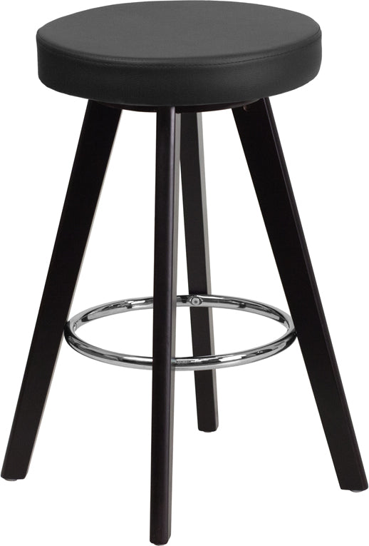 Trenton Series 24'' High Contemporary Cappuccino Wood Counter Height Stool with Vinyl Seat