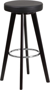 Trenton Series 29'' High Contemporary Cappuccino Wood Barstool with Vinyl Seat