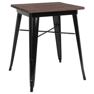 "23.5"" Square Metal Indoor Table with Walnut Rustic Wood Top"