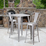 "Commercial Grade 23.75"" Square Metal Indoor-Outdoor Bar Table Set with 2 Stools with Backs"