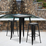 "Commercial Grade 23.75"" Square Metal Indoor-Outdoor Bar Table Set with 2 Square Seat Backless Stools"