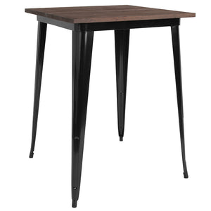 "31.5"" Square Metal Indoor Bar Height Table with Walnut Rustic Wood Top"