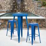 "Commercial Grade 24"" Round Metal Indoor-Outdoor Bar Table Set with 2 Square Seat Backless Stools"