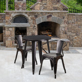 "Commercial Grade 24"" Round Metal Indoor-Outdoor Table Set with 2 Arm Chairs"