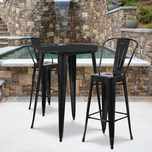 "Commercial Grade 30"" Round Metal Indoor-Outdoor Bar Table Set with 2 Cafe Stools"