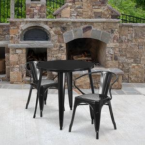 "Commercial Grade 30"" Round Metal Indoor-Outdoor Table Set with 2 Arm Chairs"