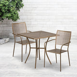 "Commercial Grade 28"" Square Indoor-Outdoor Steel Patio Table Set"