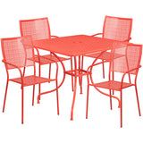 "Commercial Grade 35.5"" Square Indoor-Outdoor Steel Patio Table Set"