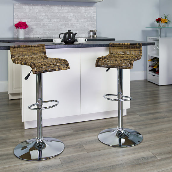 Contemporary Wicker Adjustable Height Barstool with Waterfall Seat and Chrome Base