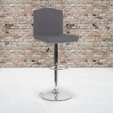Bellagio Contemporary Adjustable Height Barstool with Accent Nail Trim