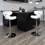 Contemporary Cozy Mid-Back Vinyl Adjustable Height Barstool with Chrome Base