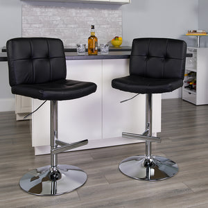 Contemporary Vinyl Adjustable Height Barstool with Square Tufted Back and Chrome Base