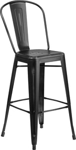 "Commercial Grade 30"" High Distressed Metal Indoor-Outdoor Barstool with Back"