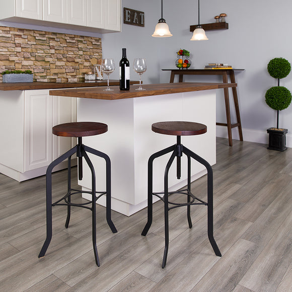 30'' Barstool with Swivel Lift Wood Seat