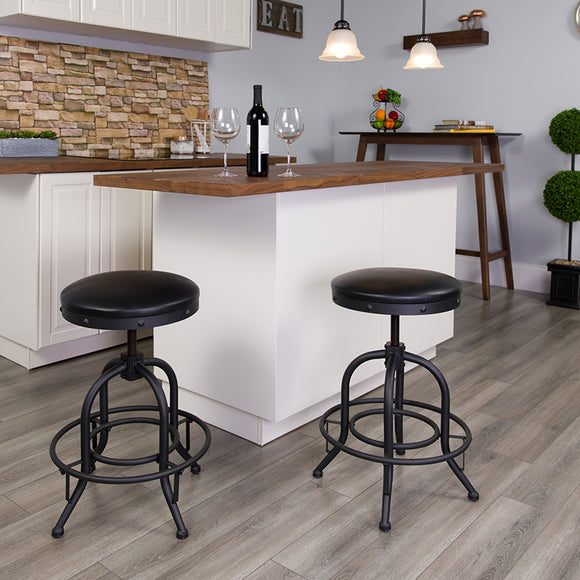 Barstool with Swivel Lift Black LeatherSoft Seat