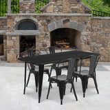 "Commercial Grade 31.5"" x 63"" Rectangular Metal Indoor-Outdoor Table Set with 4 Stack Chairs"