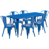 "Commercial Grade 31.5"" x 63"" Rectangular Metal Indoor-Outdoor Table Set with 6 Stack Chairs"