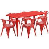 "Commercial Grade 31.5"" x 63"" Rectangular Metal Indoor-Outdoor Table Set with 6 Arm Chairs"
