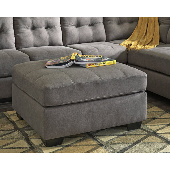 Benchcraft Maier Oversized Accent Ottoman in Charcoal Microfiber