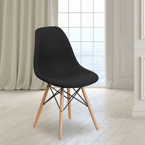 Elon Series Fabric Chair with Wooden Legs
