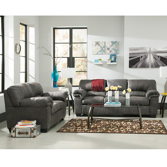 Signature Design by Ashley Bladen Living Room Set in Slate Faux Leather