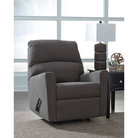 Signature Design by Ashley Alenya Rocker Recliner in Charcoal Microfiber