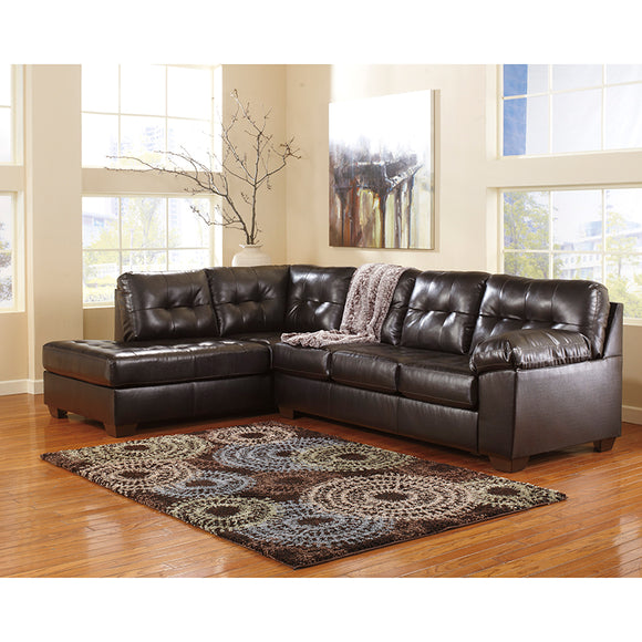 Signature Design by Ashley Alliston with Left Side Facing Chaise Sectional in Chocolate Faux Leather