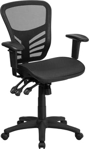 Mid-Back Transparent Mesh Multi function Executive Swivel Ergonomic Office Chair with Adjustable Arms