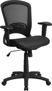 Mid-Back Transparent Mesh Executive Swivel Office Chair with Adjustable Arms