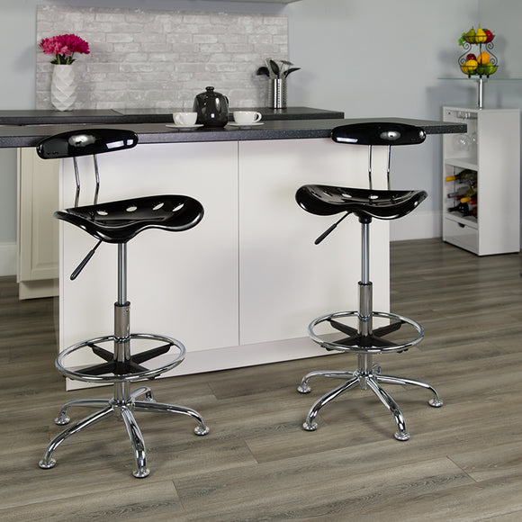 Vibrant and Chrome Drafting Stool with Tractor Seat