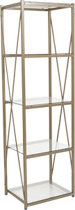 "Mar Vista Collection 4 Shelf 64""H Cross Brace Glass Bookcase in Matte Gold"