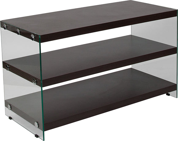 Wynwood Collection Dark Ash Wood Grain Finish TV Stand with Shelves and Glass Frame