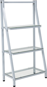 "Winfield Collection 3 Shelf 45.5""H Glass Bookcase with White Metal Frame"