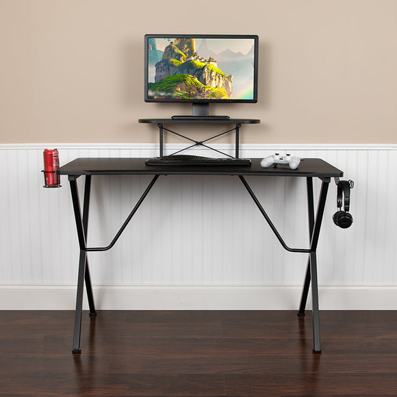 Black Gaming Desk with Cup Holder, Headphone Hook, and Monitor/Smartphone Stand
