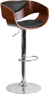 Walnut Bentwood Adjustable Height Barstool with Black Vinyl
