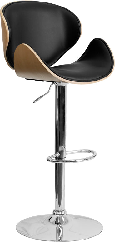 Bentwood Adjustable Height Barstool with Curved Back and Black Vinyl Seat