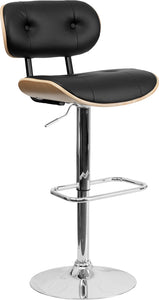 Bentwood Adjustable Height Barstool with Button Tufted Black Vinyl Seat
