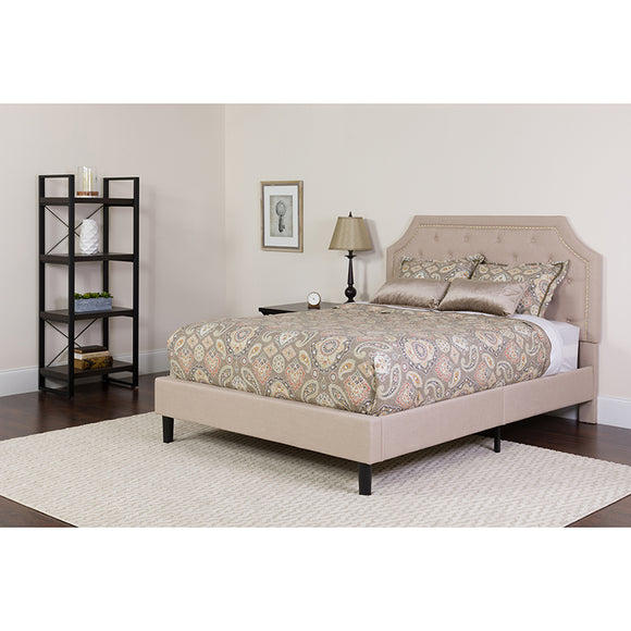Brighton Tufted Upholstered Platform Bed in Mattress