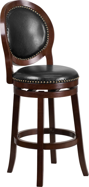 30'' High Cappuccino Wood Barstool with Oval Back and Black LeatherSoft Swivel Seat