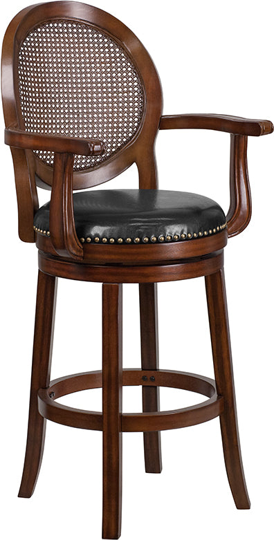 30'' High Expresso Wood Barstool with Arms, Woven Rattan Back and Black LeatherSoft Swivel Seat