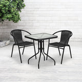 23.5'' Square Glass Metal Table with 2 Chairs